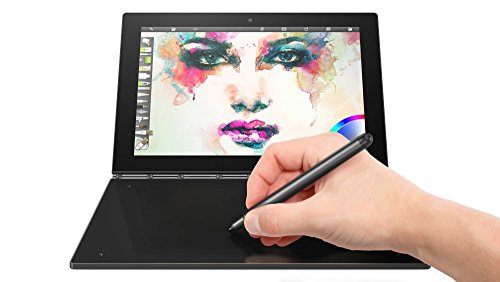 Yoga Book 25,65cm (10,1 Zoll Full HD IPS Touch) 2in1 Tablet (Intel Atom x5-Z8550 Quad-Core, 4GB RAM, 64GB eMMC, Windows 10 Pro, 2MP+8MP Kamera, Dolby Atmos) schwarz inkl. Halo Tastatur und Real Pen