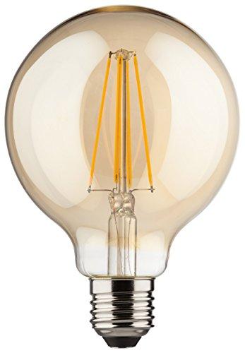 MÜLLER-LICHT 400204 A++, Retro-LED Lampe Miniglobe ersetzt 60 W, Glas,  8 W, E27, gold, 9,5 x 9,5 x 14 cm dimmbar
