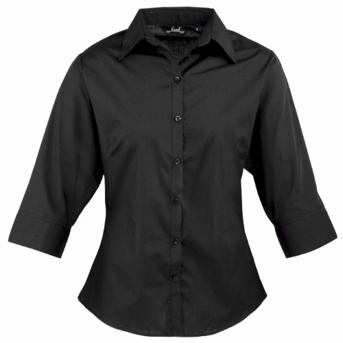 Price comparison product image Ladies 3 / 4 Sleeve Poplin Blouse Black 6