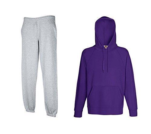 Fruit of the Loom Jogginganzug Hausanzug Sportanzug Jogginghose & Kapuzensweatshirt (L, Grau & Purple) Purple Classic Hoody Sweatshirt