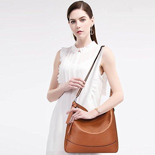S-ZONE Borsa a tracolla in borsa a tracolla di media borsa a tracolla in borsa Hobo borsa in pelle in vera pelle donna Marrone
