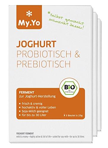 My.Yo Joghurtpulver Pro- und Prebiotisch, Joghurtferment zur Joghurtherstellung, 3 Beutel, Bio-Zertifiziert