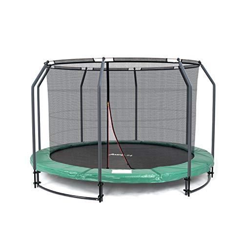 Ampel 24 Deluxe Ground Trampolin 305 cm komplett mit innenliegendem Netz, Sicherheitsnetz mit Stabilitätsring & 8 Stangen, für Kinder bis 35 kg