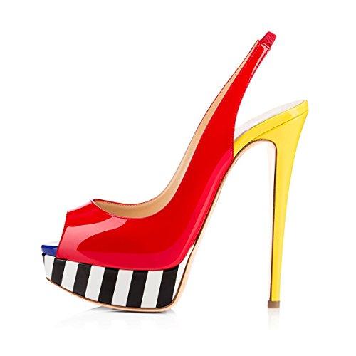 Damen Peep Toe Sandalen Pumps High Heels Stiletto Lackleder Slingback mit Plateau Rot