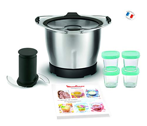 Moulinex Mini Bol Bébé avec 4 Pots en Verre XF387E10 Accessoire Companion Officiel Cuve 1,4L Lame Inox Compatible avec Tous les Robots Cuisine Companion