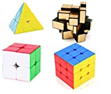 #7: M-Alive Level up Stickerless Cube Set -Smoothest 2x2 3x3 Rubik Cube with Gold Magic Mirror Cube and Prymarix - Set of 4