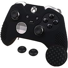 Pandaren® STUDDED peau de Housses Coque de silicone anti-dérapant pour les deux Xbox One Elite & Standard Manette x 1 (noir) + thumb grip pouce poignées x 2
