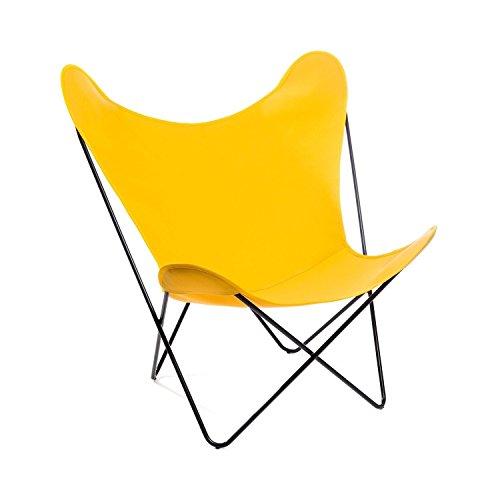 Manufakturplus - Butterfly Chair Hardoy - Acryl - Stahl schwarz - Acryl gelb - Jorge Ferrari-Hardoy - Design - Gartenstuhl - Sessel - Sonnenstuhl - Terrassenstuhl