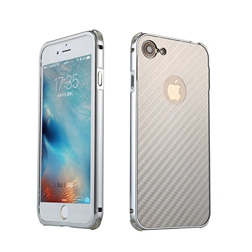 iPhone 7 Coque,iPhone 8 Coque,Valenth Carbon Fiber Partern Metal Protective Etui pour iPhone 8 / iPhone 7 Silver