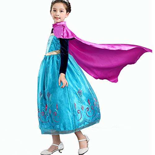 Yeesn Mädchen Prinzessin Anna Kostüm Kleid mit rotem Umhang für Prinzessinnen-Party Cosplay Weihnachten Outfit