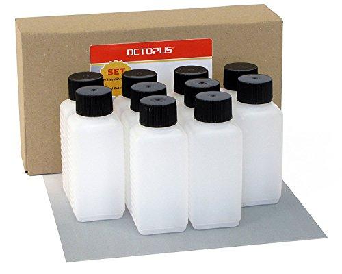 Preisvergleich Produktbild 10 x 100 ml Octopus Kunststoffflaschen, HDPE Plastikflaschen mit schwarzen Schraubverschlüssen, Leerflaschen mit schwarzen Schraubdeckeln, Vierkantflaschen inkl. 10 Beschriftungsetiketten
