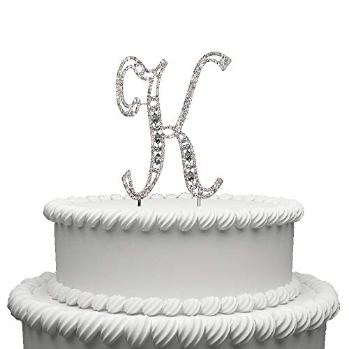 Monogramm Buchstabe Alphabet Kuchen Topper Für Hochzeit Geburtstag Party Dekoration 1Stück K silber ()