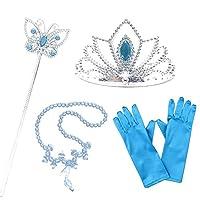 AiJump 4Pcs Prinses Aankleden Accessoires met Blauwe Handschoenen Tiara Wand Collier voor Meisjes Verjaardagsfeestje Carnaval Halloween Cosplay