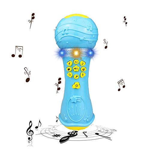 H-ONG Music Microphone Toy for 1-3 Year Old Baby Boy Girl Kids- Best Christmas Birthday Gift (Blue)