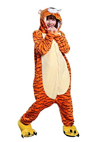 Tigger Adult Men Women Unisex Animal Sleepsuit Kigurumi Cosplay Costume Pajamas Outfit Nonopnd Nightclothes Onesies Halloween Cheap Costume Clothing (L(172CM-180CM)) by COHO