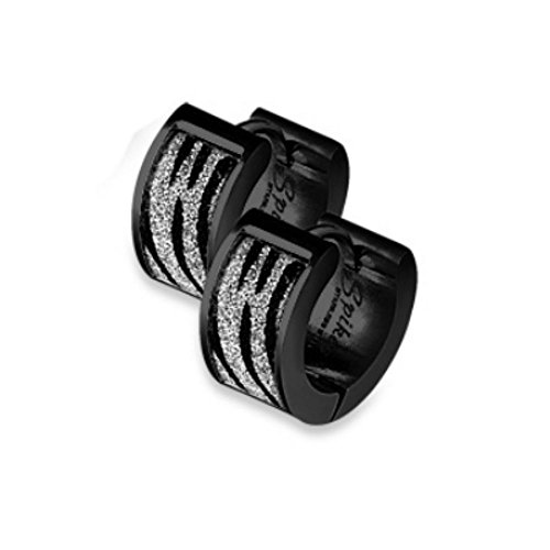 Bungsa® schwarze Edelstahl Creolen mit Zebra Streifen - 1 Paar (Ohrringe Ohrhänger Ohrstecker Studs Chirurgenstahl Creolen Ohrschmuck Ohrklemmen Damen Frauen Herren Mode) - Fashion Zebra-streifen