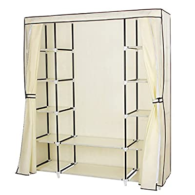 Songmics Canvas Wardrobe Bedroom Furniture Cupboard Clothes Storage Organiser Beige 175 x 150 x 45 cm RLG45M produced by Songmics - quick delivery from UK.