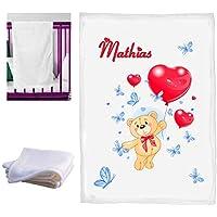 couverture lit bébé personnalisé naissance baptème avec le prenom du bebe réf 09