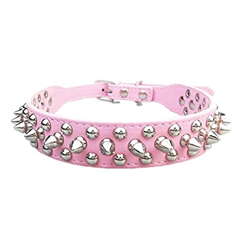 Fully Spikes Studded PU Leather Dog Puppy Safety Collars Choke Necklace Ajustable (S, Pink)