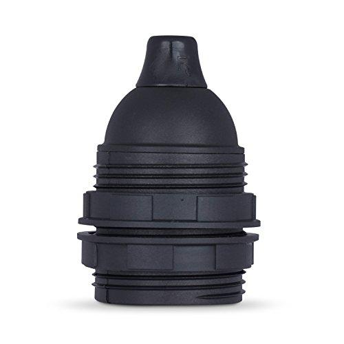 3x Stück | Gewindemantel Lampenfassung E27 aus Thermoplast, schwarz mit Klemmnippel Zugentlastung - Wiederverwendbare Zugentlastung