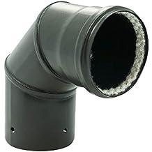 Codo escuadra 90 ° esmalte mate negro diámetro 80 mm para estufas de pellets + Junta