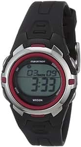 Timex Sport Marathon Midsize Black/Red Watch - T5K3634E with Stop Watch