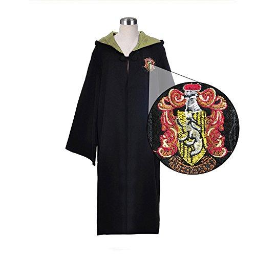 (Egleson Hufflepuff Kostüm Harry Potter Lange Umhang Gelbe und Schwarze Robe mit Kapuze Karneval Fasching Zauberer Mantel (S,Hufflepuff ))