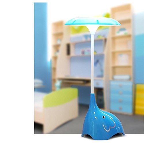 Lyy Creative LED Night Light Bett Schlafzimmer Cartoon Elefant Tischleuchte Touch-Schalter Drei Gänge Dimmen USB Kostenlos Schreibtisch Lampe , blue