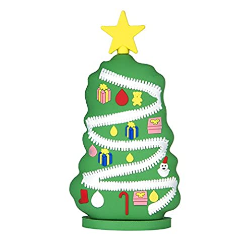 Christmas tree Weihnachtsbaum-Powerbank, UBMSA Externes Ladegeraet im Weihnachtsbaum-Design in Tuerkis-Rosa fuer Smartphones und andere Geraete mit USB-Anschluss - inklusive Micro USB-Ladekabel (Weihnachtsbaum)