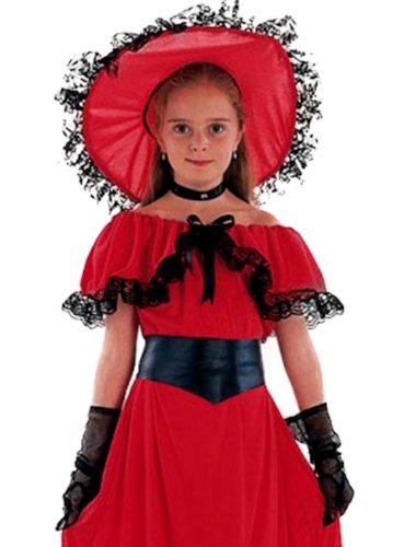 Karnevalsbud - Mädchen Karneval Kostüm- Scarlet O'Hara Gewandung Magd Märchen, rot gold, 7-9 (Roter Ara Kostüm)