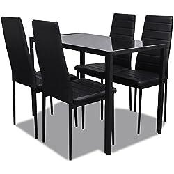 vidaXL Conjunto de Comedor 5 Piezas Negro Mesa Sillas Muebles Cocina Acolchado