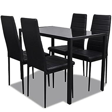 mewmewcat 5tlg. Essgruppe mit 1 Tisch und 4 Esszimmerstühle Esstisch Essstuhl Set Küchenmöbel mit Holzrahmen Sitzgruppe Schwarz