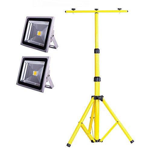 20 Zwei-licht (SAILUN 2 x 20W LED Fluter Strahler Licht Scheinwerfer Außenstrahler Wandstrahler Silber Aluminium IP65 Wasserdicht AC 85 - 265V+ Teleskop Stativ(50-150CM) (20W, Warmweiß))
