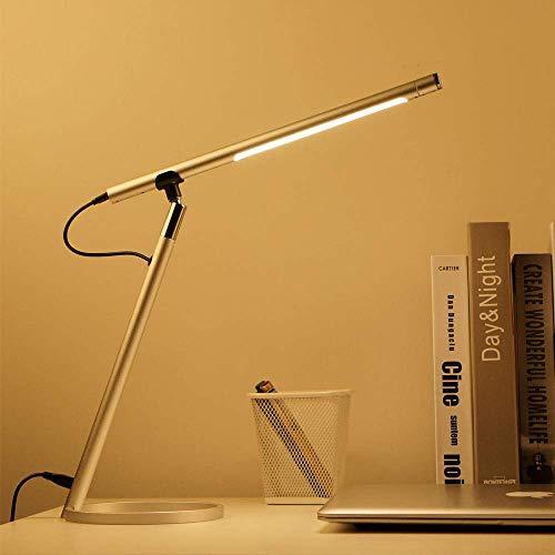Eyocean Berührungssteuerung Schreibtischlampe, Stufenloser Dimmfunktion Tischlampe, 3 Farbmodi Augenpflegendes Leselicht mit Timing-Funktion, Minimalistisches Design, CE Adapter enthalten, 7W, Silber