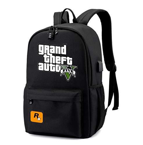 Hot Game GTA 5 Student USB Rucksack Für Jungen Girs Zurück Zu Schulbuch Taschen Teens Reisetasche (Schulbuch Zurück)