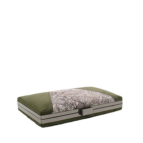 Ideal Shoes–by Swan–Pochette da sera effetto camoscio con parte effetto rettile Vimala verde