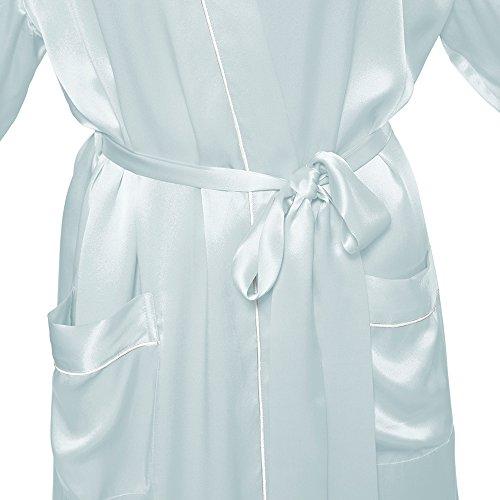 LILYSILK Robe de Chambre en Soie Femme Style Kimono Midi 22 Momme Bleu Ciel Clair