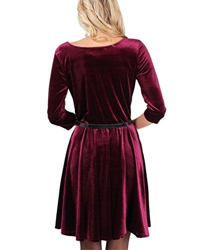 KRISP® Femmes Robe Patineuse en Velours Manches 3/4 Sexy Tendance Burgundy