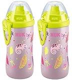 NUK 10255340 First Choice Junior Cup 300 ml mit Push-Pull-Tülle, auslaufsicher, mit Clip, ab 36 Monaten, BPA frei, rosa, 2er Pack (2 Flaschen)