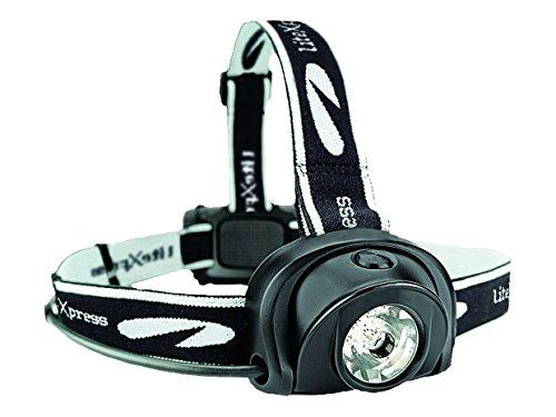LiteXpress Liberty 113 LED Stirnlampe mit Rücklicht, 4+2 Leuchtmodi, inkl. 3x AA Batterien, schwarz, LXL205001
