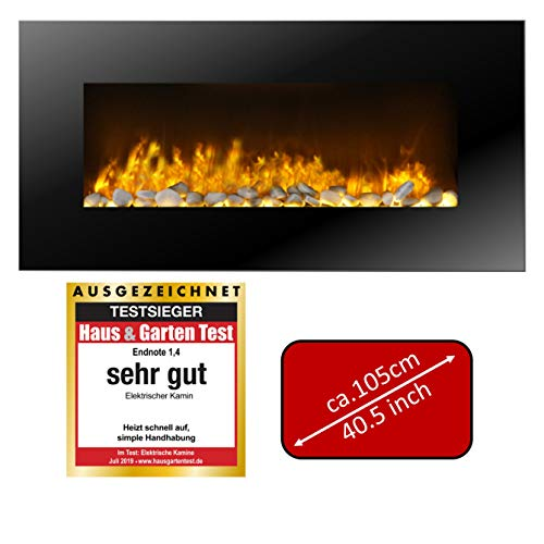 JUNG Classicfire Elektrokamin mit Heizung, Wandkamin mit 2000W, LED Kaminofen Kaminfeuer mit Feuereffekt, Dekokamin Elektroheizung, Elektrischer Kamin,inkl. Fernbedienung, Glasfront, Dimmer,Thermostat