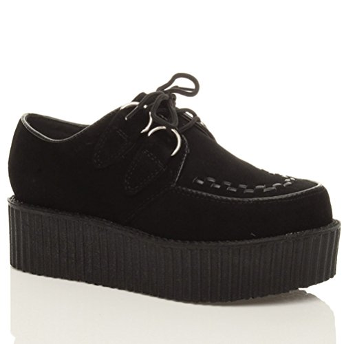 Chaussures plates double plate-forme punk gothique à lacets pour femmes taille Daim noir