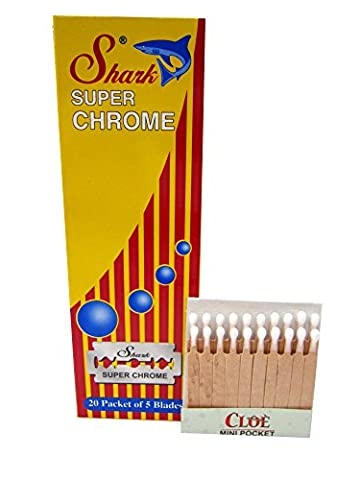 100 lames Shark Super Chrome avec crayon hémostatique