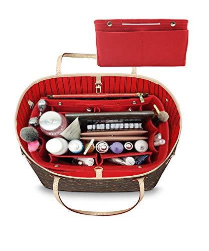 LEXSION Damen Filz-Geldbeutel-organisator, Multi Pocket Bag in Bag Organizer für Tote & Handbag Shaper groß beige (Louis Vuitton Ski)