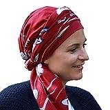 Lookhatme Foulard en Coton froissé New Delhi imprimé Bonnet intérieur - (Rouge Fleurs)