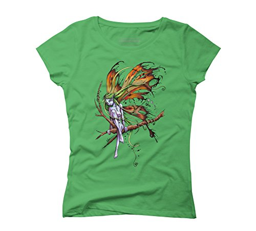 Faery Women's 2X-Large Green Graphic T-Shirt - Design By (Faery Wings)