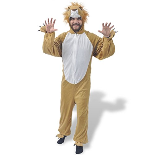Festnight Unisex Kostüm Faschingskostüm Tierkostüm Spaß Costume Verkleidung Löwe XL-XXL für Erwachsene mit Körpergröße von bis zu (Kleidung Gesicht Kostüm Reißverschluss)
