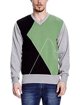XFORE golf pullover maglione da uomo con rombi e scollo a V, Mulberry, in verde/ nero/ grigio