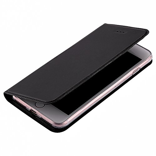 Cover per iphone 7 plus Portafoglio, iphone 7 plus 5.5 Custodia in Pelle Rigida, Ekakashop Puro Colore Moda Bello Strong Magnetico Ultra Slim Custodia in PU Pelle Flip Folio, Gomma in Silicone Gomma  Nero