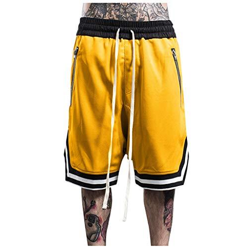 AmyGline Hosen Herren Shorts Neu-Männer CasualMode Lose Schnell Trocknend Outdoor Sports Shorts Joggen Fitness Basketball Shorts Kurze Hose Freizeithose Sweatpants Strandshorts (Gelb-B, XL)